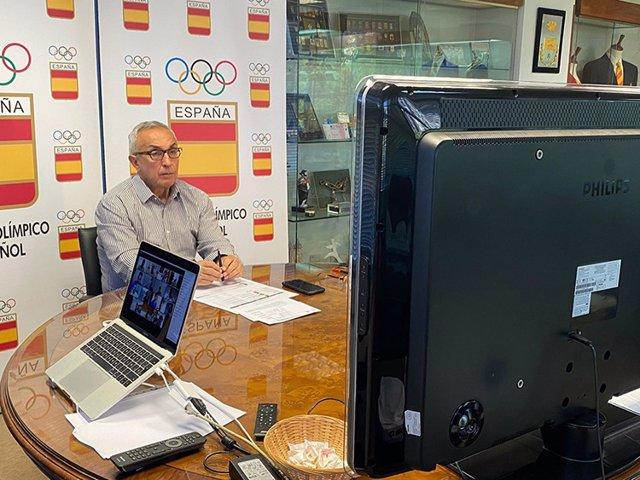 El presidente del COE, Alejandro Blanco, en una reunión telemática