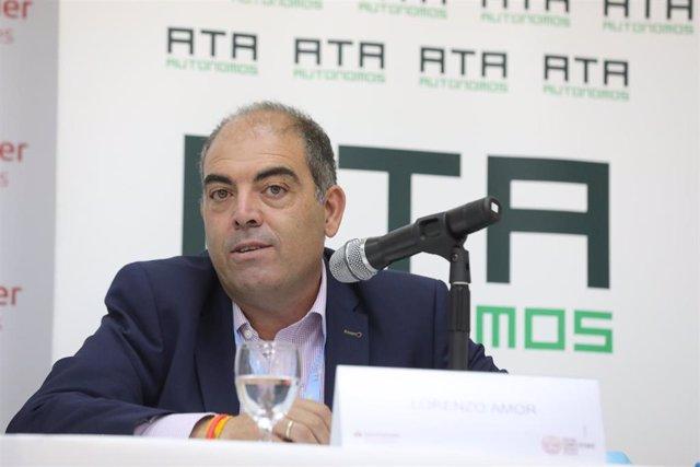 El presidente de ATA, Lorenzo Amor, durante la quinta jornada de la XXXIII Edición de los Cursos de Verano en San Lorenzo de El Escorial