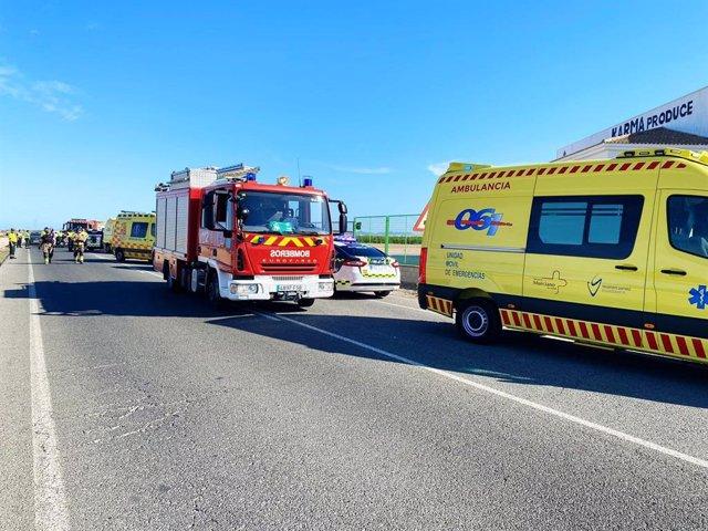 Tres heridos, dos de ellos graves, en una colisión frontal en la carretera de Torre Pacheco