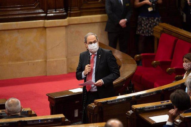 El president de la Generalitat, Quim Torra, intervé en el ple que dóna començament a un nou curs polític després del període vacacional d'agost en el qual es votarà la llei que pretén limitar el preu dels lloguers