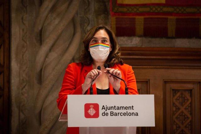 L'alcaldessa de Barcelona, Ada Colau, una roda de premsa després de la seva reunió a l'Ajuntament de Barcelona, Catalunya (Espanya), a 7 de setembre de 2020.