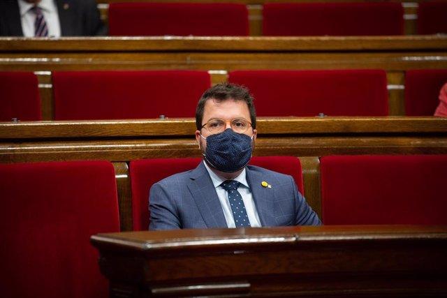 El vicepresidente del Govern, Pere Aragonès, durante el pleno del Parlament