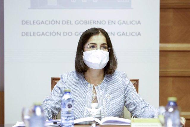 La ministra de Política Territorial y Función Pública, Carolina Darias, durante una reunión con los presidentes de las Diputaciones Provinciales de Galicia en A Coruña, Galicia (España), a 7 de septiembre de 2020.