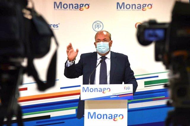 El presidente del PP en Extremadura, José Antonio Monago, en una imagen de archivo.