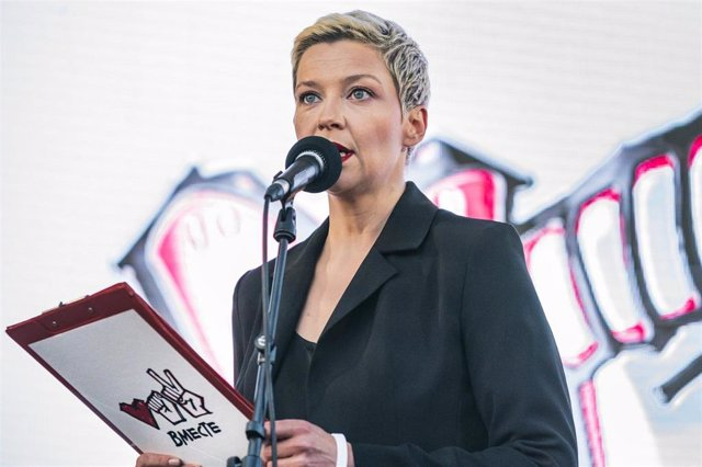 Maria Kolesnikova, en una manifestación en Minsk de apoyo a Svetlana Tijanovskaya