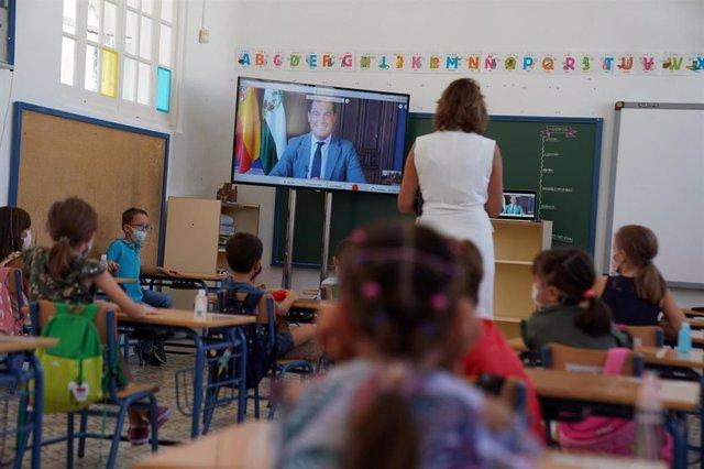 El presidente de la Junta, Juanma Moreno, inaugura el curso escolar 20/21