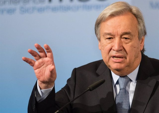 FILED - 18 February 2017, Bavaria, Munich: UN Secretary General Antonio Guterres speaks during the Munich Security Conference at the Bayerischer Hof. In his message on the occasion of the International Day of the Victims of Enforced Disappearance, Guterre