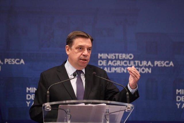 El ministro de Agricultura, Pesca y Alimentación, Luis Planas ofrece una rueda de prensa en la sede del Ministerio