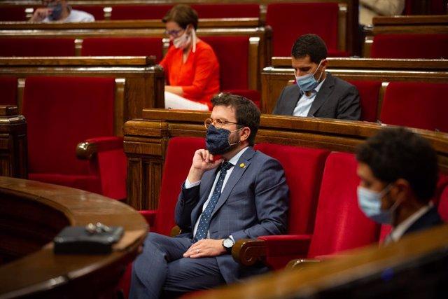 El vicepresident del Govern, Pere Aragonès, en el ple del Parlament. Barcelona, Catalunya, (Espanya), 9 de setembre del 2020.