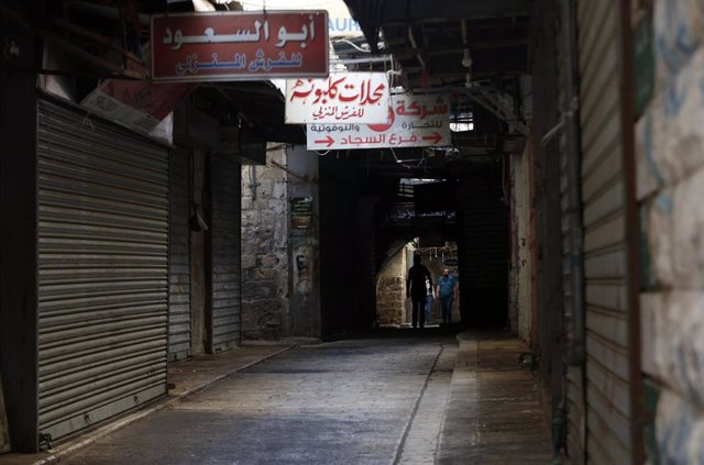 Una calle de la ciudad cisjordana de Nablús durante la pandemia de coronavirus