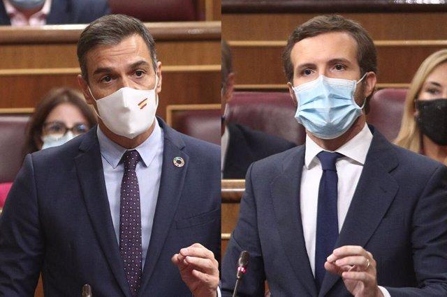 Montaje fotográfico de las intervenciones del presidente del Gobierno, Pedro Sánchez, y del líder del PP, Pablo Casado, durante la sesión de control al Gobierno en el Congreso
