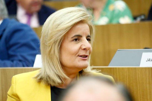 La exministra de Trabajo, Fátima Bañez, en el acto de elección del presidente de la Asamblea General del CEIM.