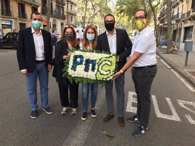 Marta Pascal encapçala l'ofrena del PNC al monument de Rafael Casanova en la Diada de el 11 de Setembre de 2020
