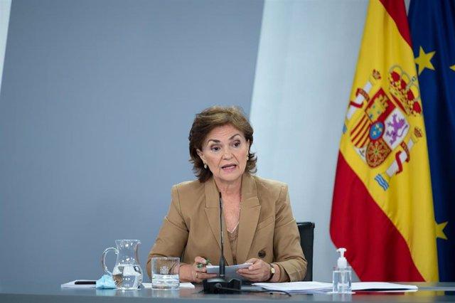 La vicepresidenta primera del Gobierno, Carmen Calvo, interviene durante la rueda de prensa posterior al Consejo de Ministros. En Madrid, (España), a 8 de septiembre de 2020.