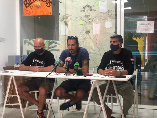 Portavoces de la CTM Bahía de Cádiz, en una rueda de prensa