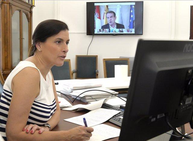 Gema Igual, alcaldesa de Santander (PP), en una reunión telemática de la FEMP