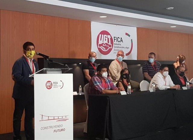 Reyes, en el XII Congreso del Sindicato Provincial de Industria, Construcción y Agro de UGT-Fica Jaén.