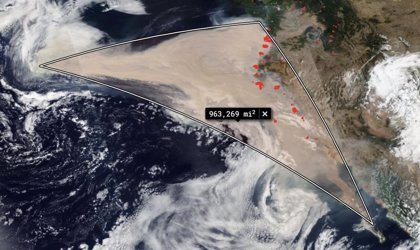 El humo de los fuegos de EE.UU cubre 1,5 millones de km2 del Pacífico
