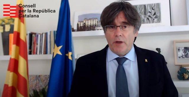 El president de la Generalitat, Carles Puigdemont, en un missatge per la Diada de 2020.