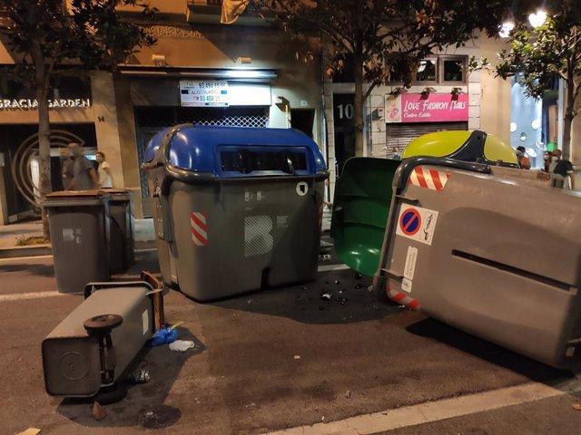 Los CDR se disuelven tras cruzar varios contenedores por Gràcia