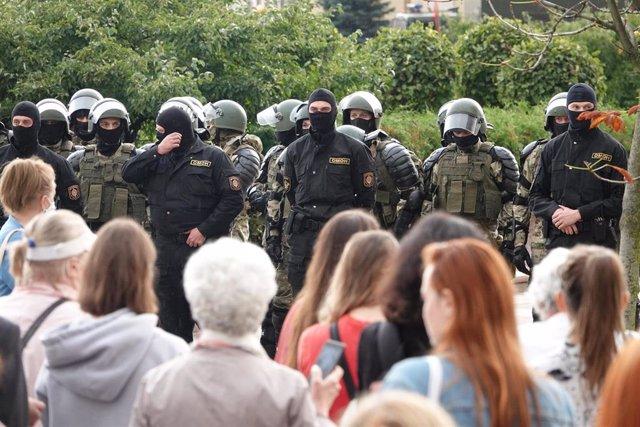 Protestas en Minsk, Bielorrusia.