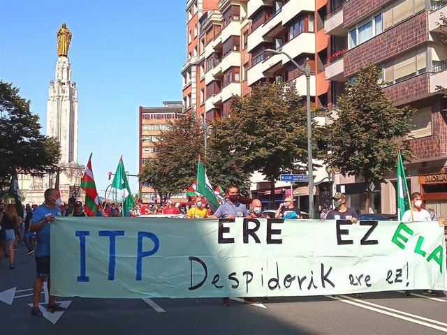 Manifestación de trabajadores de ITP por Bilbao
