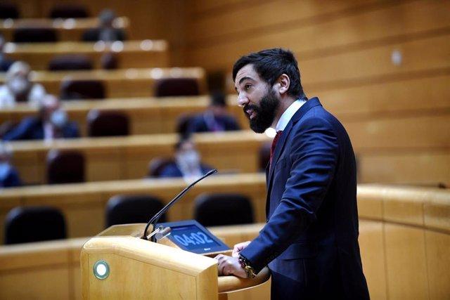 El senador de Vox Jacobo González-Robatto, interviene durante un pleno en el Senado en una imagen de archivo.