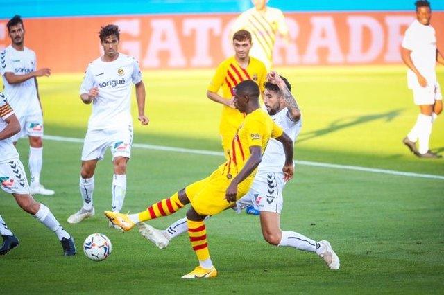 Dembélé marca el 1-0 en el amistoso entre Barça y Nàstic