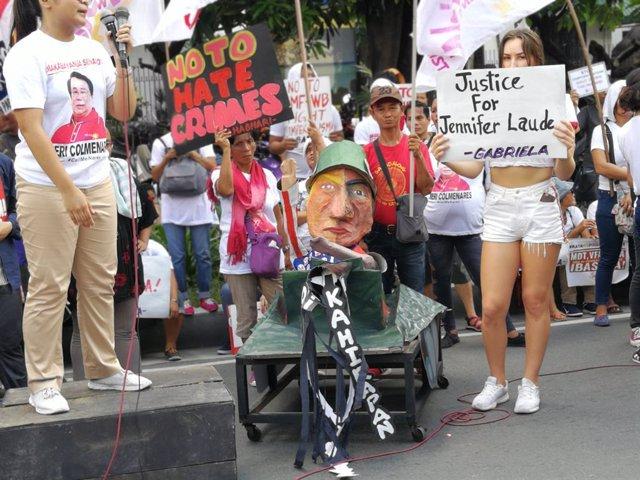 Manifestación para exigir justicia por la muerte de Jennifer Laude, una mujer tr