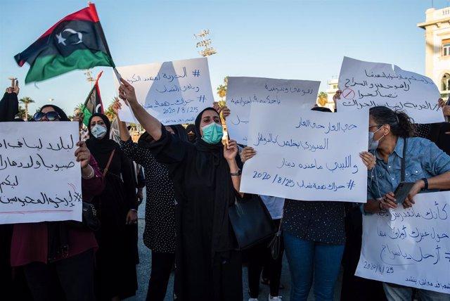 Libia.- Nuevas movilizaciones sociales en la capital de Libia para exigir reform