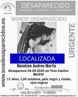Localizada menor desaparecida en Tres Cantos, Madrid.