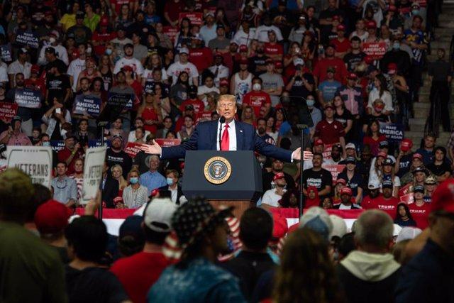El presidente de Estados Unidos, Donald Trump, durante un mitin celebrado a puer