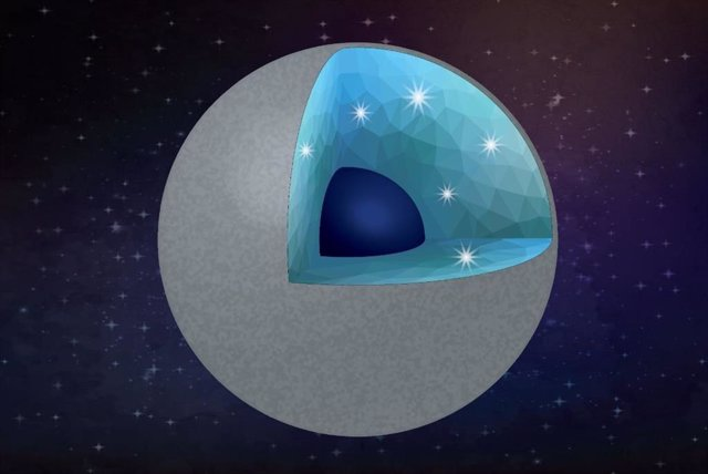 Ilustración de un planeta rico en carbono con diamantes y sílice como principales minerales.