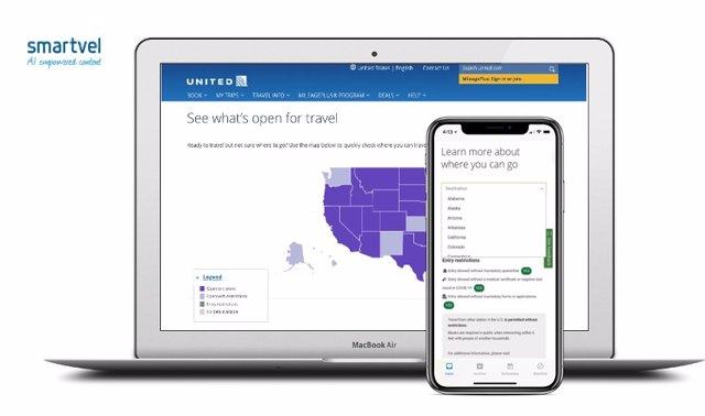 United Airlines ofrece a sus viajes un mapa interactivo con las restricciones de viaje