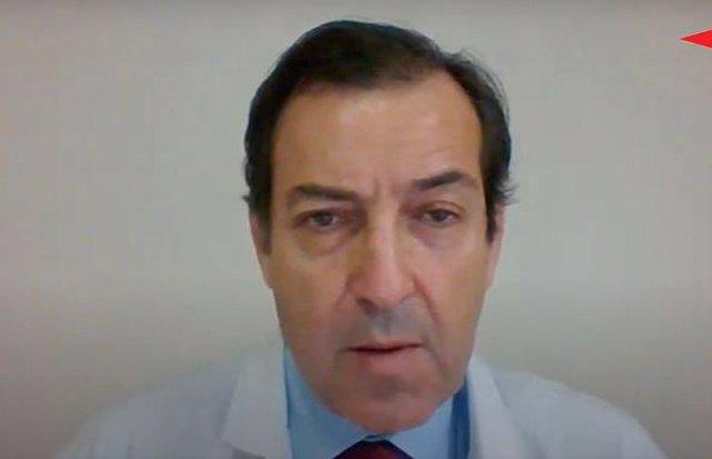 El presidente de la Sociedad Española de Hematología y Hemoterapia y Hematólogo del Hospital de Salamanca, Ramón García Sanz, interviene durante el encuentro digital 'Hematología: Nuevos retos y necesidades de formación' de Europa Press y Roche Farma.