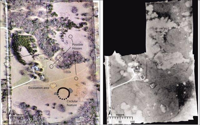 Izquierda: Ortoimagen del sitio obtenida por un dron que muestra las principales características discutidas en el estudio. Derecha: mosaico de imágenes térmicas recogidas.