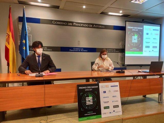 Rueda de prensa del consejero de Ciencia, Innovación y Universidad, Borja Sánchez, y la directora del CEEI, Cristina Fanjul.