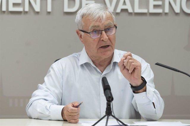 El alcalde de València, Joan Ribó, en la rueda de prensa.