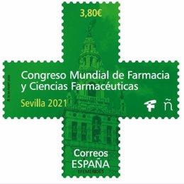 Sello de Correos dedicado al Congreso Mundial de Farmacia de Sevilla.