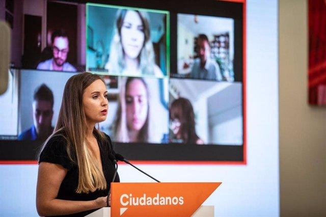 La portavoz de la Ejecutiva nacional de Ciudadanos, Melisa Rodríguez, en rueda de prensa en la sede del partido.