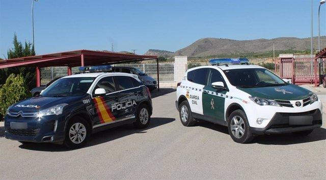 Coche de Policía Nacional y de Guardia Civil
