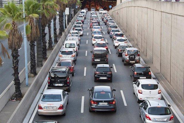 Congestió a la Ronda de Dalt de Barcelona.