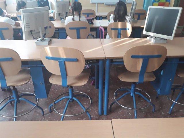 Niños en una de las aulas del CEIP Arco Iris