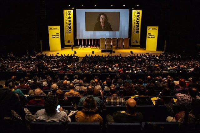 Marta Rovira durant una videoconferència en el 28è Congrés Nacional d'ERC. Barcelona, Catalunya (Espanya), 21 de desembre del 2019