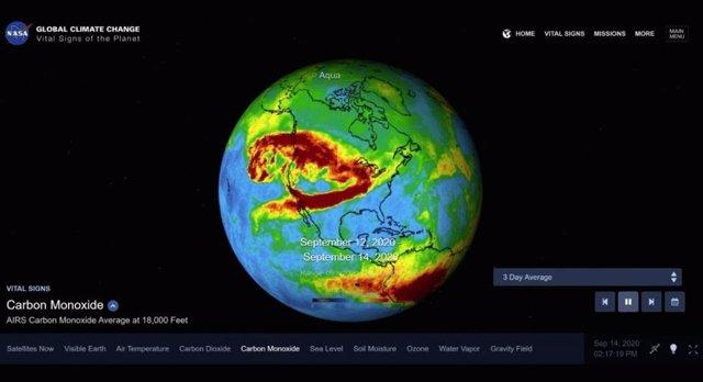 Esta visualización muestra un promedio de tres días de concentraciones de monóxido de carbono, del 6 al 14 de septiembre, en la atmósfera de California debido a los incendios forestales.