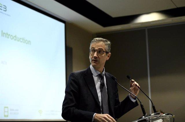 El gobernador del Banco de España, Pablo Hernández de Cos, durante su intervención en la inauguración de la jornada 'Spanish Capital Markets Conference' organizada por Afme y AEB, en Madrid (España), a 13 de febrero de 2020.
