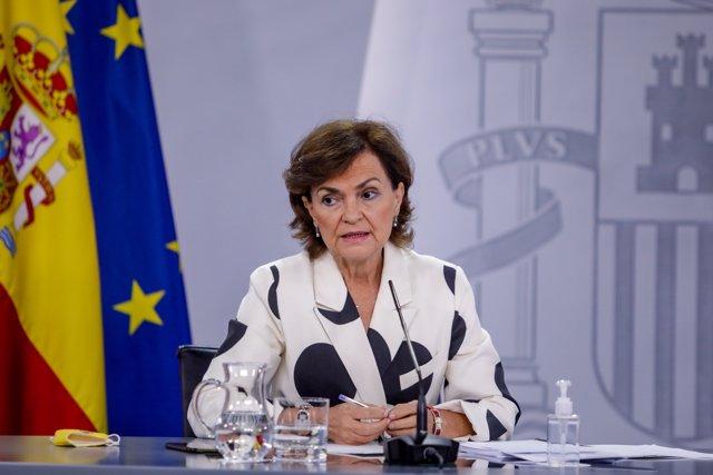 La vicepresidenta primera del Gobierno, Carmen Calvo, durante su comparecencia en rueda de prensa posterior al Consejo de Ministros celebrado en Moncloa, en Madrid (España), a 15 de septiembre de 2020.
