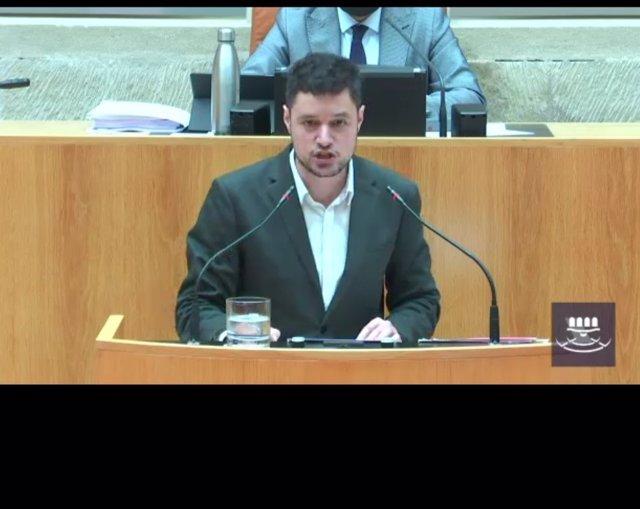 El portavoz del Grupo Parlamentario Socialista, Raúl Díaz, en la segunda sesión del Debate sobre el Estado de la Región