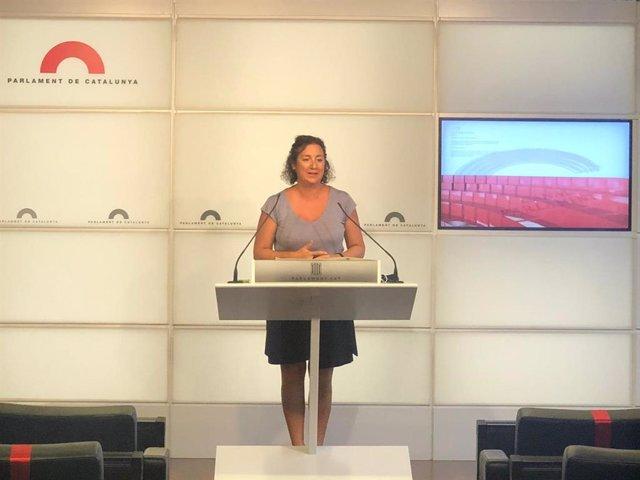 La diputada del PSC Alícia Romero en una conferència de premsa al Parlament el 15 de setembre del 2020
