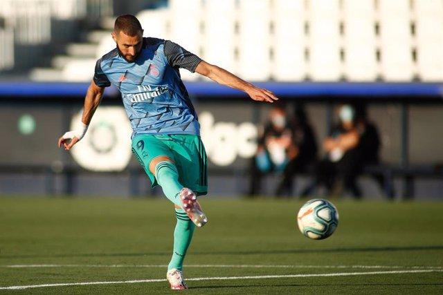 El delantero francés del Real Madrid Karim Benzema anotó cuatro goles en el último amistoso en Valdebebas previo al estreno liguero en 2020-21